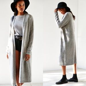 silence + noise | gray knit duster maxi cardigan
